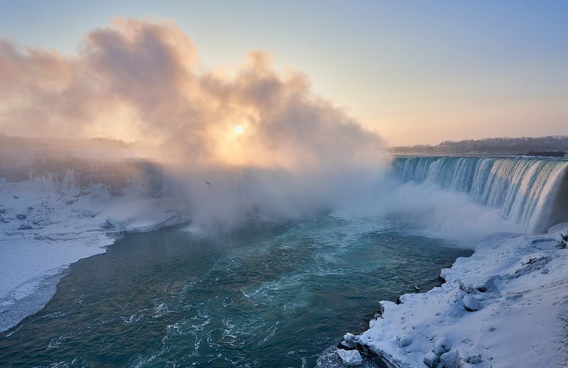 niagara falls, waterfall, winter, snow, ice, clouds, sunrise, sun, ниагарский водопад, зима, снег, лёд, облака, расвет, солнце Niagara in Januaryphoto preview