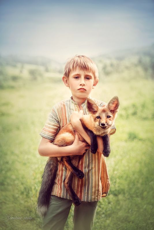 мальчик, ребенок, лисенок, лис, лето, деревня, boy, child, summer, village,  vintage, fox photo preview