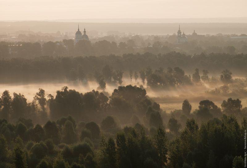 елабуга,нижняя кама,утро,лето,туман,дымка,храм,церковь,деревья,золотистый Утро в Елабугеphoto preview