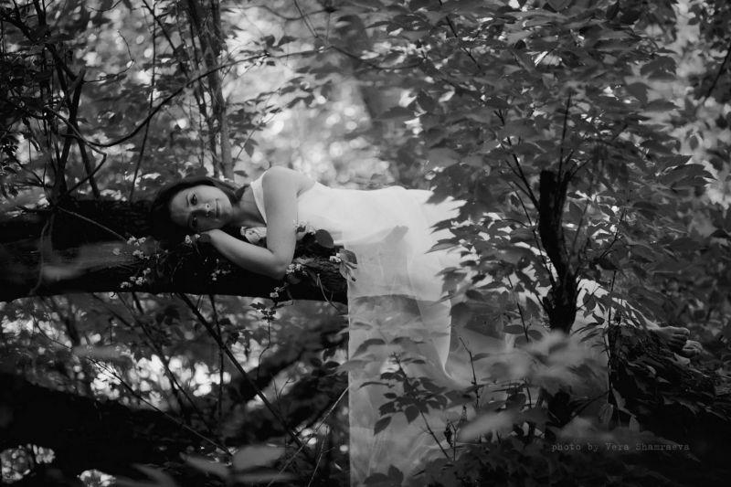 черно-белое, девушка, пленер И под ее атласной кожей, бежит отравленая кровь...photo preview
