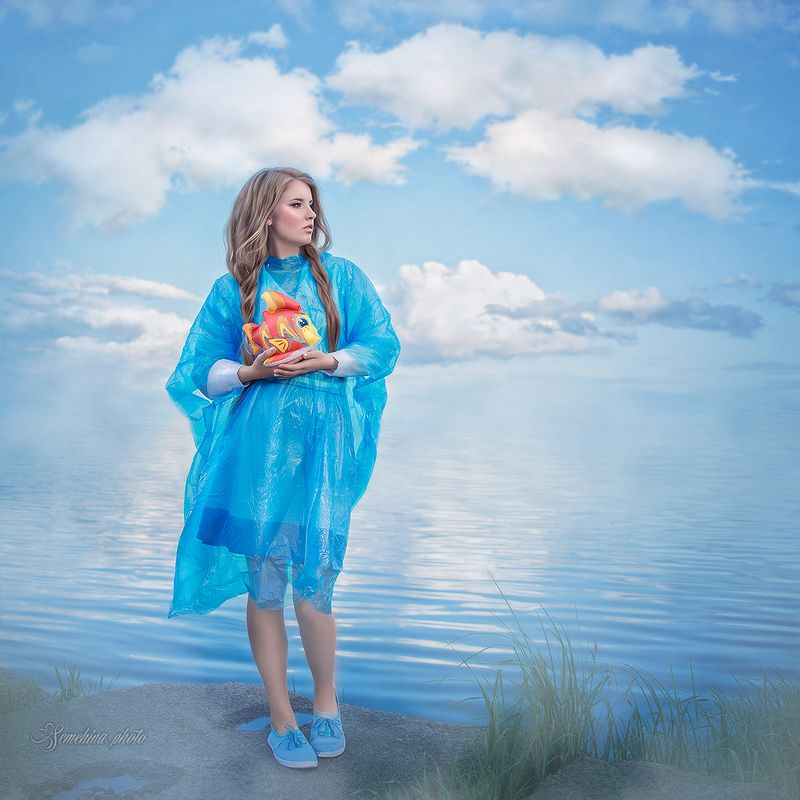 девушка, портрет, природа, синий, girl, portreit, fish, summer, sunset, fashion photo preview