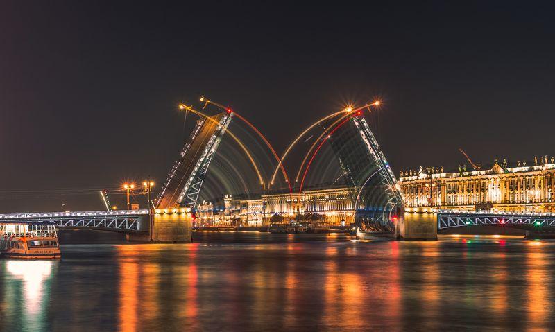 питер, ночь лето, нева, эрмитаж, дворцовый, мост ***photo preview