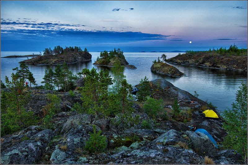 карелия, ладожское озеро, вечер, острова, луна *  *  *photo preview