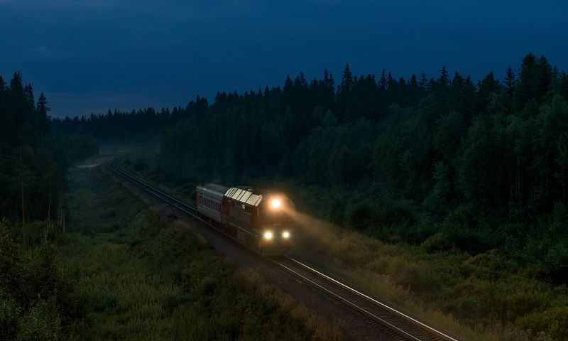 жд, железная дорога, поезд, россия,  пейзаж, skrylov, skrylov_official,  валдай, новгородская область, вечер, лето, тепловоз, пассажирский поезд ***photo preview
