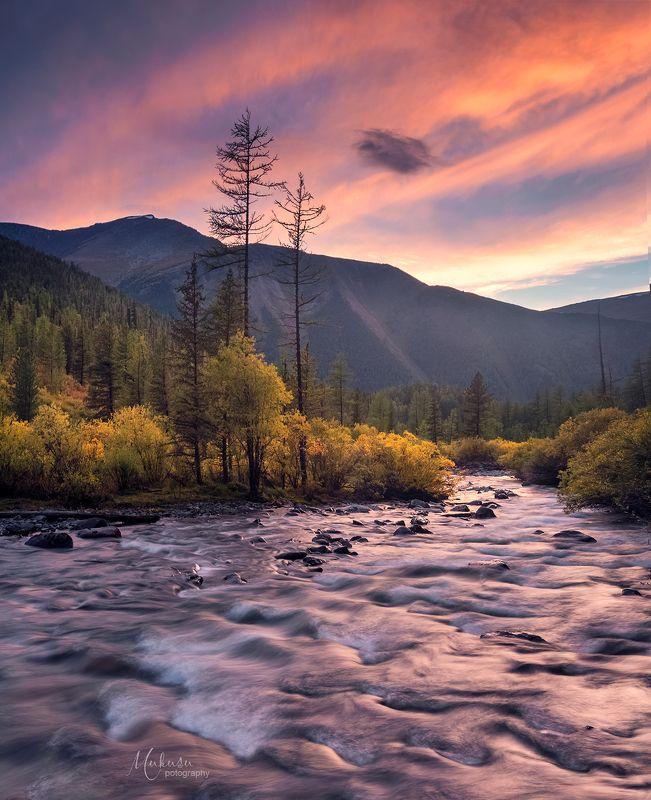 landscape, пейзаж, sunset, fалтай Краски заката на реке Текелю, республика Алтайphoto preview