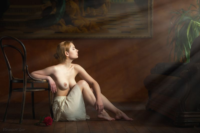 ню, девушка, грудь, обнажённая,картина, стул, красивая photo preview
