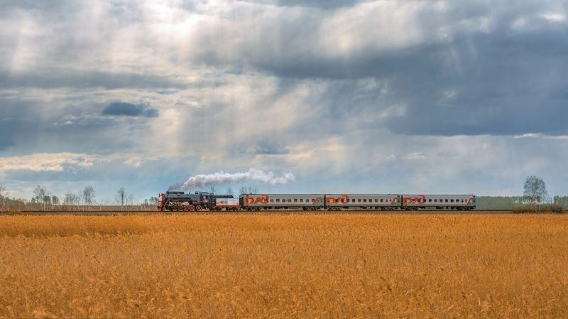жд, железная дорога, поезд, россия,  пейзаж, skrylov, skrylov_official, паровоз, лето, поле, небо, кыштым, аргаяш, ретро, челябинская область, колосья ***photo preview