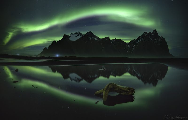 northern lights, reflection and vestrahorn. iceland. Northern lights, reflection and Vestrahorn. Iceland.photo preview