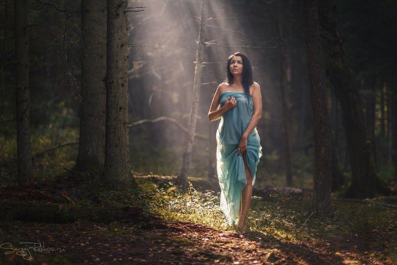 лес, лучи, солнце, модель, портрет В заколдованном лесуphoto preview