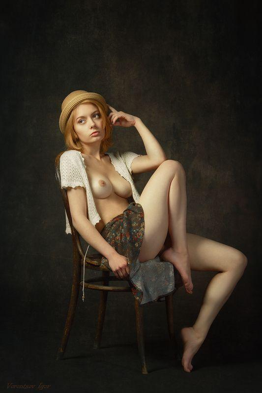 ню, девушка, грудь, обнажённая, стул, картина photo preview
