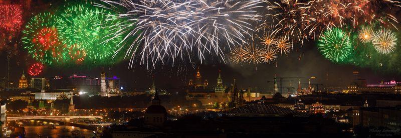 москва, салют, день города, зарядье, кремль, красная площадь, собор василия блаженного, феерверк, праздник, moscow, russia, fireworks, большой каменный мост, москва-река \