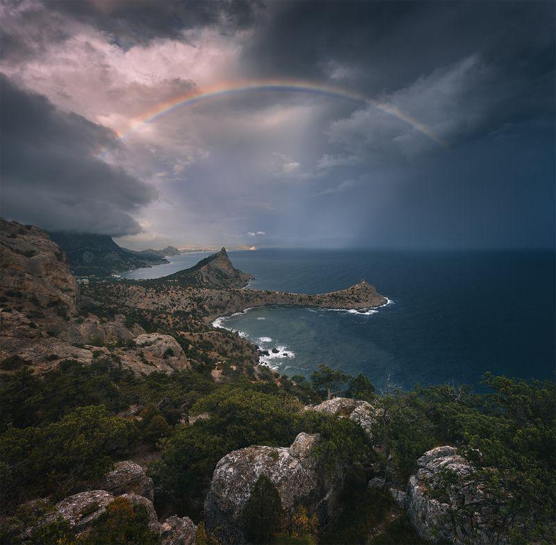 крым, новый свет, пейзаж, шторм, радуга, осень ***photo preview