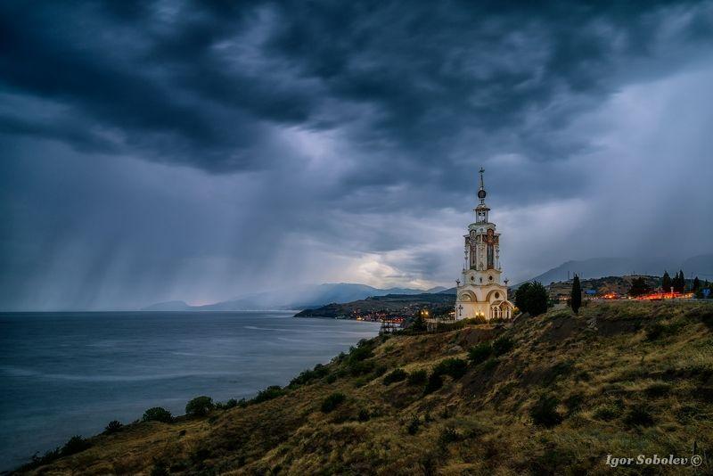 храм-маяк, святой николай чудотворец, малореченское, крым, temple-lighthouse, st. nicholas the wonderworker, malorechenskoe, crimea, Штормphoto preview