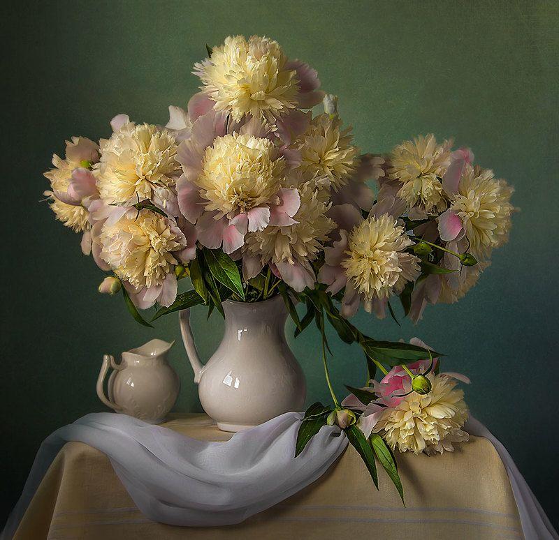 красивый натюрморт с пионами,садовые цветы,художественное фото,искусство. Роскошные пионы.photo preview