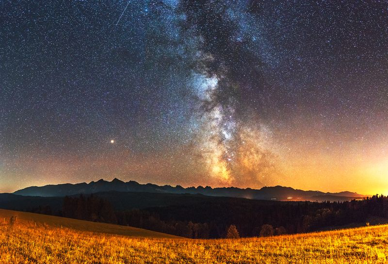mountains, poland, slovakia, tatry, pieniny, light, night, galaxy, milky way, landscape, hills, warm, colors, autumn, summer, stars, long exposure, The roadphoto preview