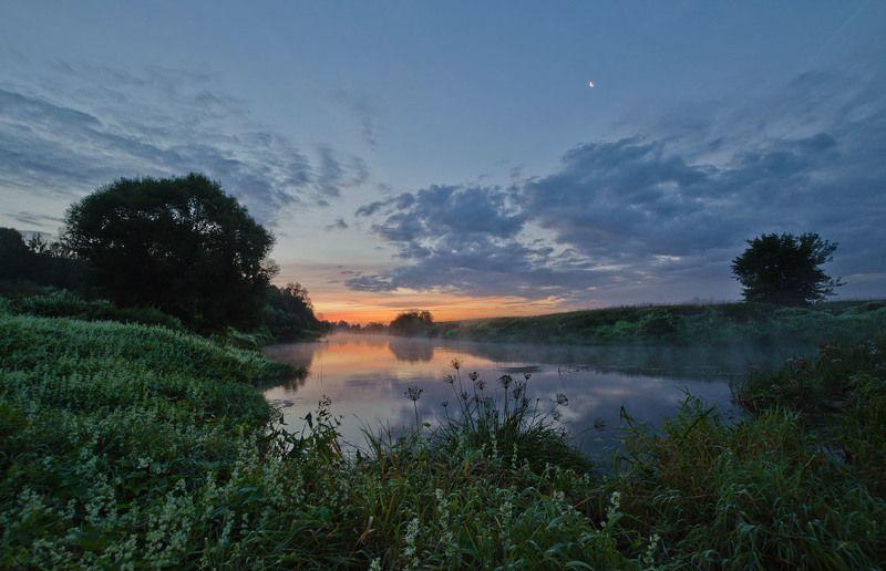 утро рассвет пейзаж река упа якшино Рассвет сменяет ночьphoto preview