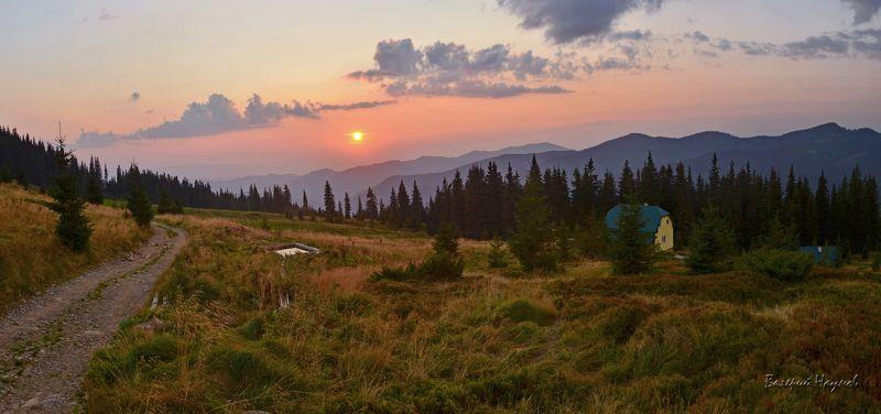 карпаты, горы, мармаросы, вечер, закат, полонина струнге Закат над горамиphoto preview