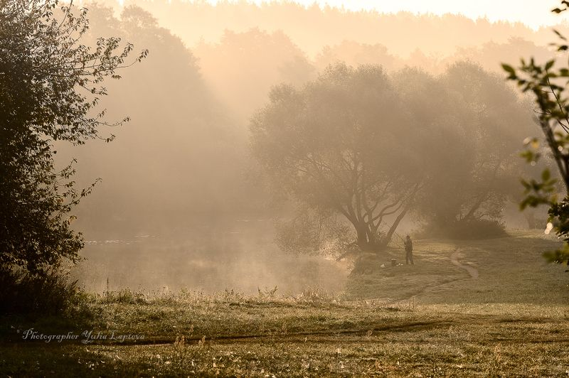 пейзаж,утро,рассвет,осень,сентябрь,беларусь,рыбак,туман \