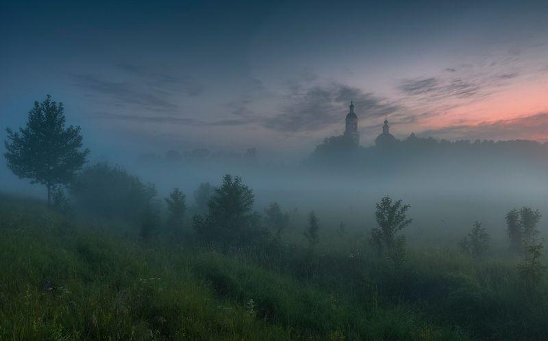 пейзаж, рассвет, туман, утро, россия, природа, филипповское, лето, россия Филипповская открыткаphoto preview