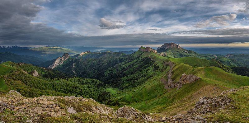 закат, большой тхач, малый тхач, асбестная, горы, пейзаж, рассвет, кавказ, адыгея, радуга, ачешбоки, Утро в горахphoto preview