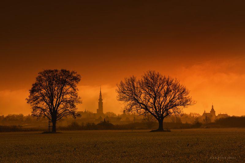 landscape,nikon d7000,nature,zanfoar,czech republic,закат, природа, чешская республика, деревья, пейзаж, дымка, небо, цвета на закатеphoto preview