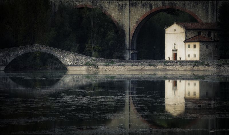 church  italy tuscany landscape  lake water Pontecosi Churchphoto preview