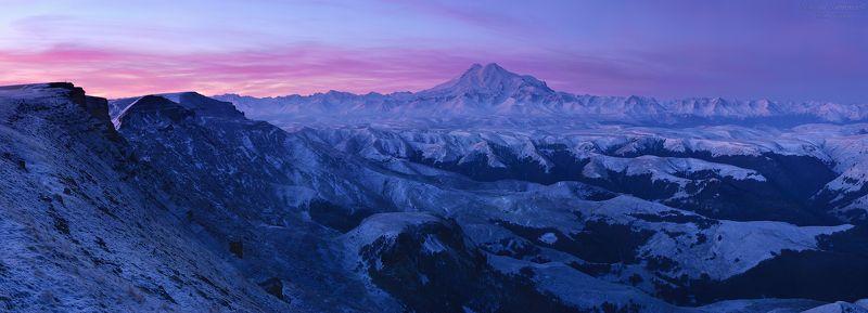 эльбрус, приэльбрусье, elbrus, горы, горный ландшафт, горный пейзаж, кавказ, северный кавказ, бермамыт, кчр, карачаево-черкессия, рассвет, первый снег, панорама \