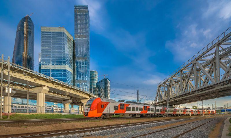 жд, железная дорога, поезд, россия,  пейзаж, skrylov, skrylov_official,  москва, мцк, москва-сити, ласточка, ЭС1, город ***photo preview