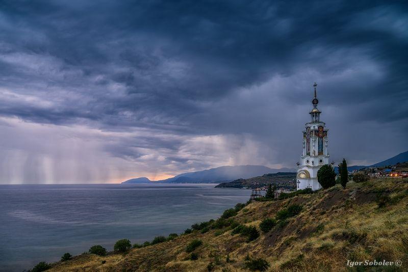 храм-маяк, святой николай чудотворец, малореченское, крым, temple-lighthouse, st. nicholas the wonderworker, malorechenskoe, crimea, Непогодаphoto preview