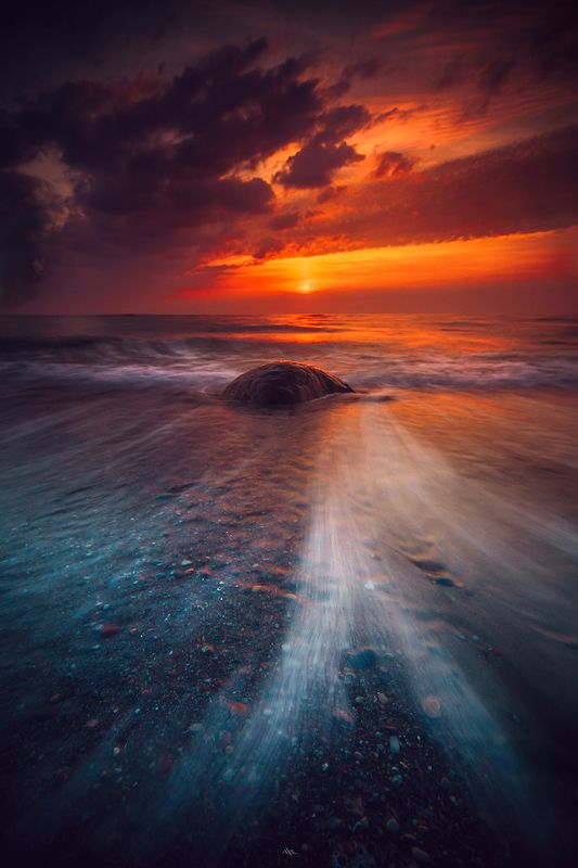 landscape, seascape, baltic sea, sunset, colors, long exposure The burning skiesphoto preview