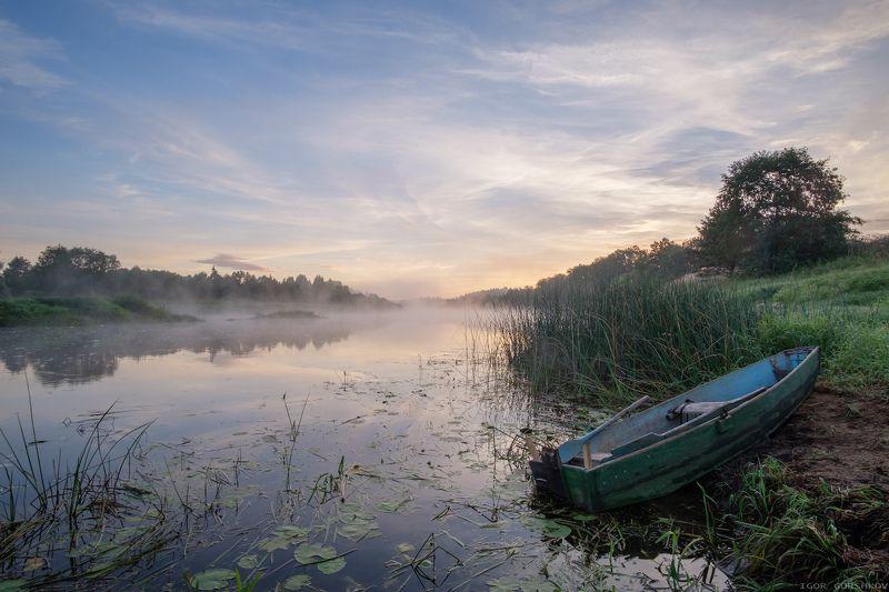 молога,река,утро,рассвет,лодка,пейзаж,природа,солнце,отражения,берег,трава, Утро на рекеphoto preview
