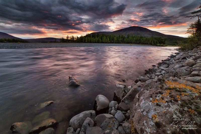 путораны, плато путорана Вечер на Курейкеphoto preview