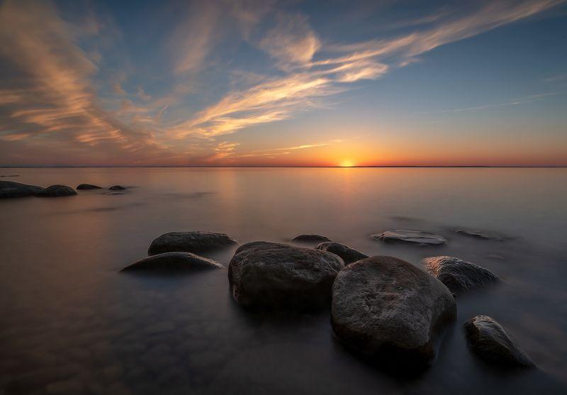 stones, lake, sunset, calm, clouds, sun, камни, озеро, закат, спокойствие, облака, солнце Stone garden IIphoto preview