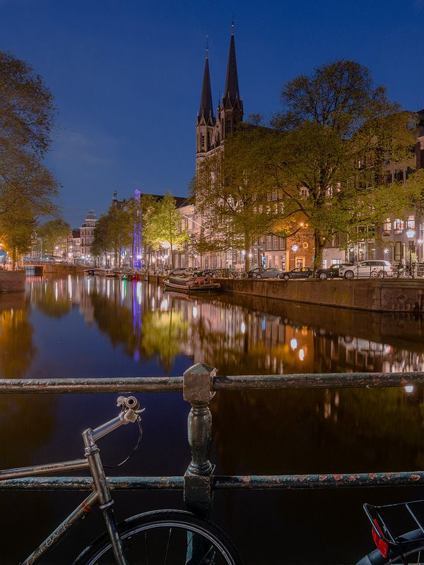 амстердам, амстел, вечер, канал, amsterdam, niderland, река, велосипед, мост Дремлющий Амстердамphoto preview