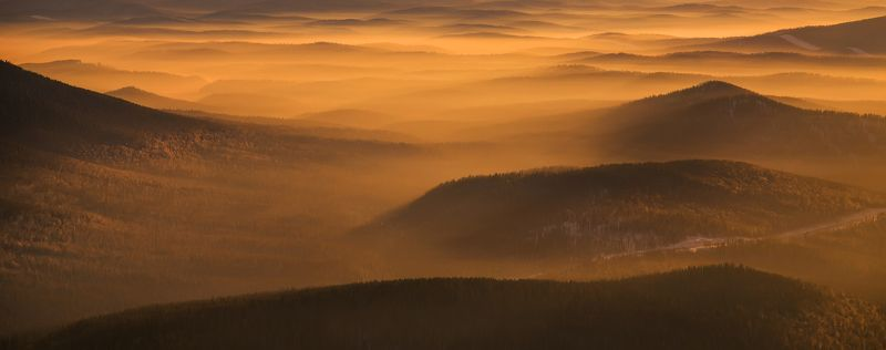 горная шория, туман, осень, горы, восход Шорские туманы. Кузбассphoto preview