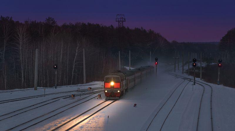 жд, железная дорога, поезд, россия,  пейзаж, skrylov, skrylov_official, зима, 2тэ116, стриганово, закат, снег, пассажирский поезд, свердловская область ***photo preview
