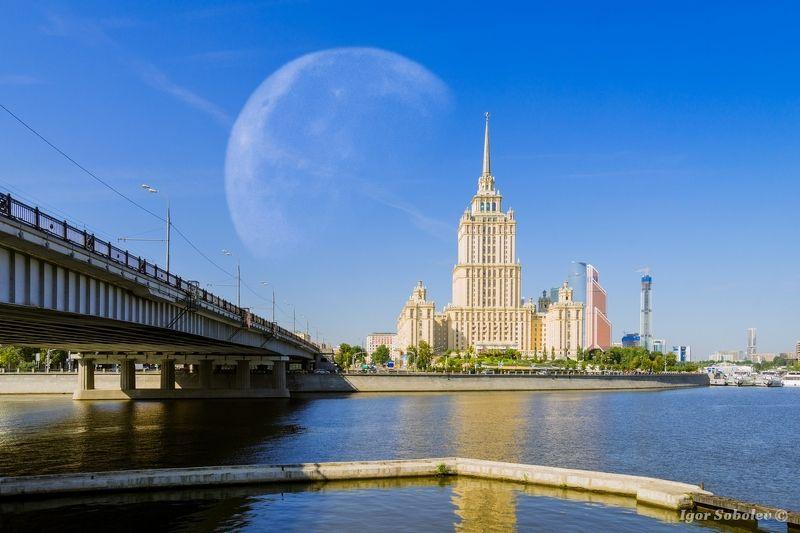 луна, гостиница Украина, Москва, moon, hotel Ukraine, Moscow Убывающая лунаphoto preview