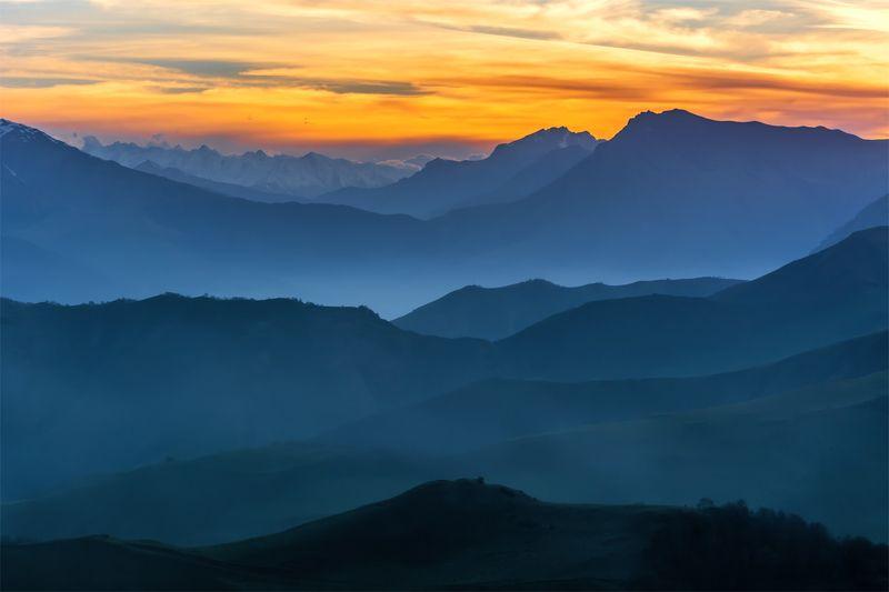 природа, пейзаж, кавказ, горы, весна, вечер, панорама, закат, небо, облака, свет ***photo preview