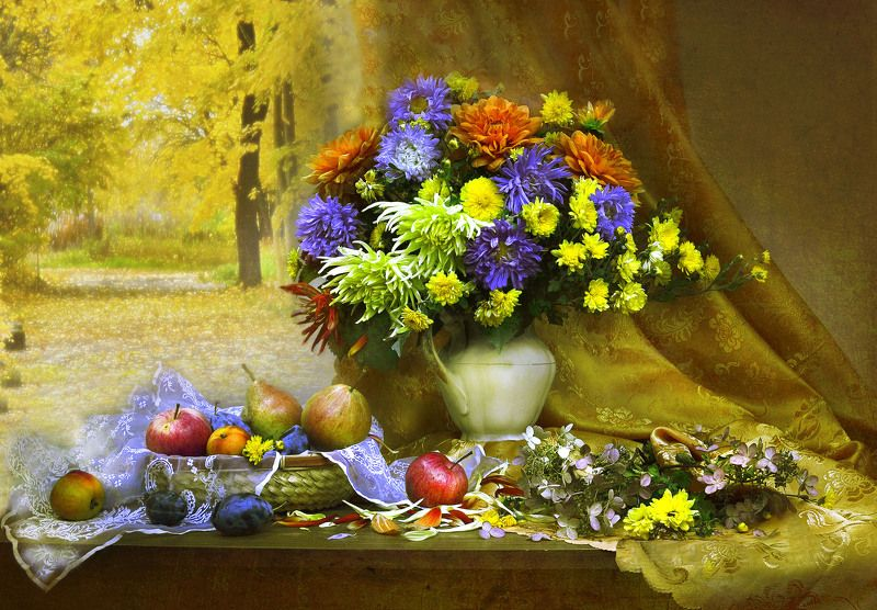 still life,натюрморт,фото натюрморт, осень, сентябрь, георгины, астры, цветы, фрукты, Загадай по осени желание...photo preview