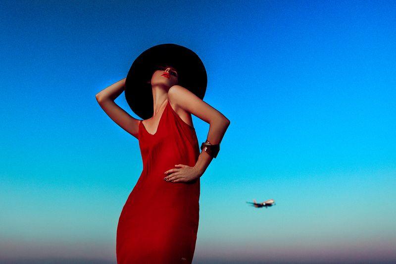 woman, art, portrait, fashion, beauty, natural light, plane, travel Flying awayphoto preview