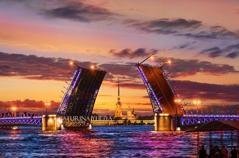 санкт-петербург, дворцовый мост, петропавловская крепость Закат над Петропавловской крепостьюphoto preview