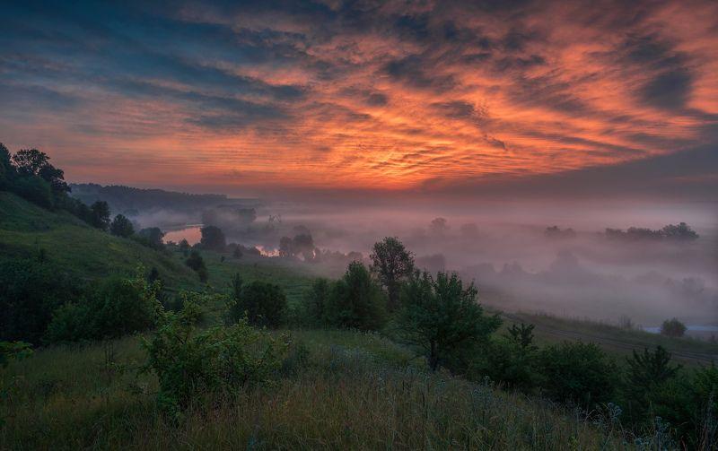 утро, рассвет, природа, туман, река, Розжиг на Океphoto preview