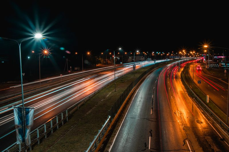 Road night lights black tracers landscape Road_A10photo preview