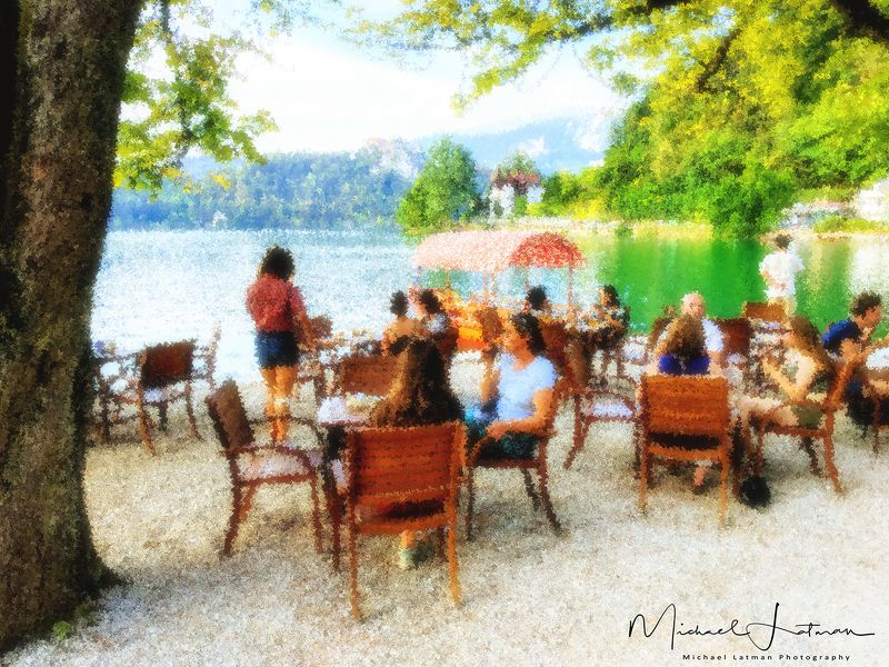 Tea party by the lake Bled. Impressionistic\'s view.photo preview