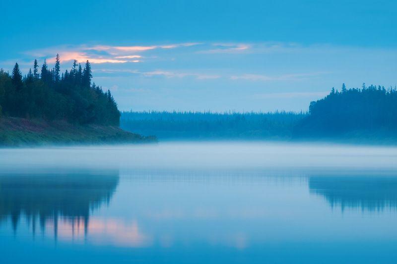 россия, иркутская область, ербогачен, нижняя тунгуска, сибирь, тайга, река, лес, закат, сумерки, отражение, туман, осень Сумерки на Угрюм реке.photo preview