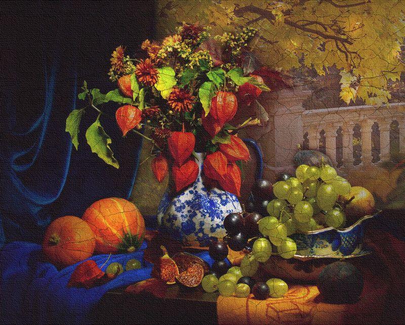 still life,натюрморт,  цветы ,фрукты ,фото натюрморт, стилизация, осень ,октябрь, картина Иллюзия и сон вне планов вдохновения ...photo preview