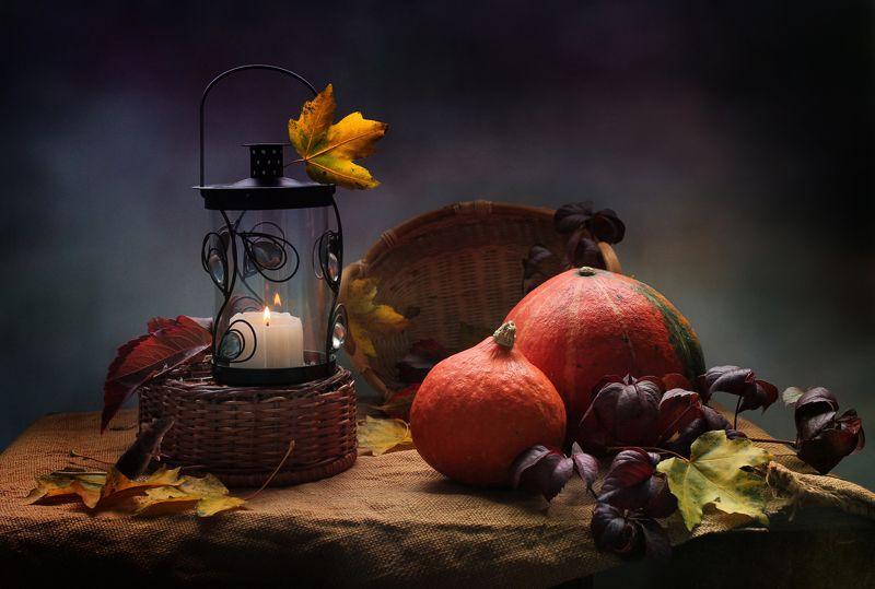 натюрморт, осень, тыквы, мышка, фонарик, корзина, подсвечник Осталось дождаться Золушку...photo preview