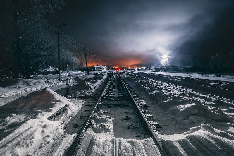 ночь, зима, дорога, туман, свет ###photo preview
