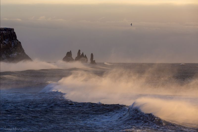 strong wind on reynisdrangar, iceland Strong wind on Reynisfjara. Iceland.photo preview