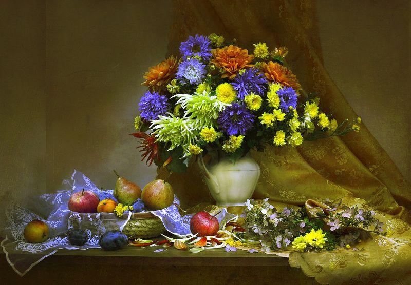 still life,натюрморт,фото натюрморт, осень, сентябрь, георгины, астры, цветы, фрукты Осень — время мечтать...photo preview